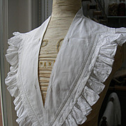 Beautiful 19th century French hand ruffled fine cotton dress collar