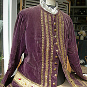 Antique 19th century French velvet theatre costume jacket courtier