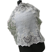 Antique French 19th century handmade Point de Gaze lace wedding handkerchief with intricate monogram