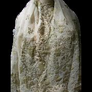 Antique Ottoman 19th century gold tone metallic bullionwork embroidered silk organdie shawl