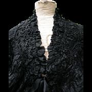 Stunning antique French fine chiffon pure silk ruffled shoulder cape shawl 1880s