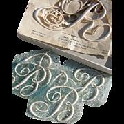 Plumetis Express - box w. 9 large sew-on vintage French monograms circa 1920