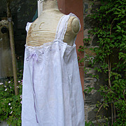 Pristine, unworn vintage French 1920s lingerie - finest lawn monogrammed lace trousseau slip tunic smock