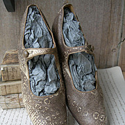 Exquisite pair vintage 1920s authentic Ring Lizard skin dancing shoes