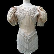 Rare antique French silk & glass beadwork 1890s boned corset bodice