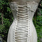 Antique Edwardian 1903 boned lace trimmed corset