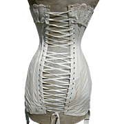 Antique Edwardian 1903 boned lace trimmed corset