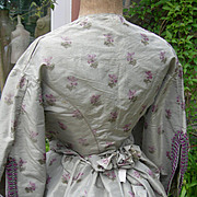 Deconstructed antique French 19th century silk costume - skirt & boned jacket bodice