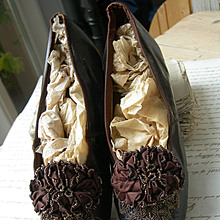 Antique French 1880s glace leather woman's shoes with silk rosettes & beadwork