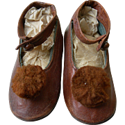 Divine pair tiny antique Scottish Victorian baby button shoes with bobble rosettes 1880s