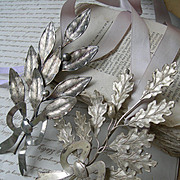 Pair vintage Belgian 1920s silver plated ribbon wreath bouquets