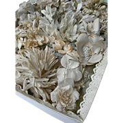 Convent find - box of handmade antique 19th century French flowers