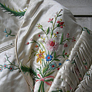 Exquisite antique French early 19th century 1820s hand embroidered silk bodice - museum quality