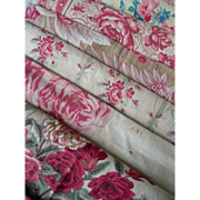 Bundle of antique French 19th century large printed fabric panels - rose & floral motifs