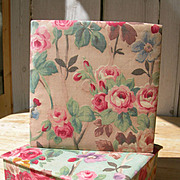 2 vintage French 1920s fabric covered chintz boudoir boxes - cabbage roses