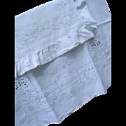 19th century French antique baby sheet & pillowcase sham w. whitework embroidery & monogram Bebe