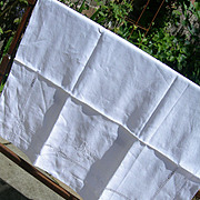 French 19th century pure linen hand embroidered baby sheet with monogram Bebe