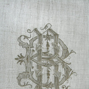 Lovely antique French 19th century hand embroidered pillow sham with intertwined monogram BR or RB