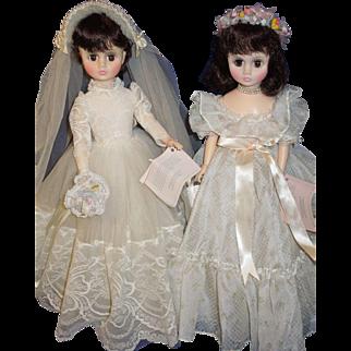"""Madame Alexander 18"""" Elise Bride #1695 and Bridesmaid #1665"""
