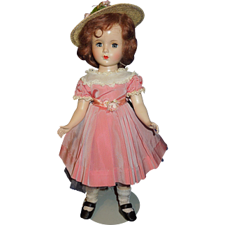 """Madame Alexander 14"""" Margaret faced 1950's doll, tagged dress"""