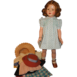 """Effanbee 1930's composition Ann Shirley Dewees Cochran 20"""" doll plus clothing"""