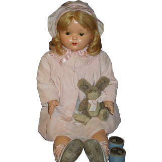 """Composition 29"""" Mae Starr phonograph 1930's talking doll + 2 cylinders"""