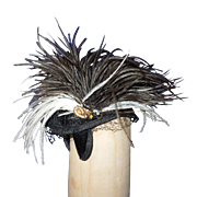 Vintage black and white feathered doll hat