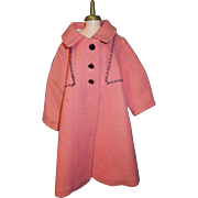 Vintage coral pink wool doll coat for fashion doll