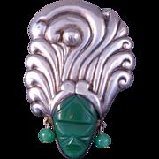 Wonderful Vintage Mexican Sterling Silver Mayan Man Brooch w/ Headdress Green Onyx ca: 1940s-50s