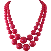 Great Vintage Tomato Red Bakelite 2 Strand Graduated Beads Necklace 1950s