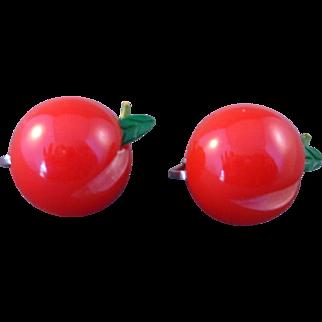 Darling Vintage Small Red Bakelite Cherry Clip Earrings 1930s