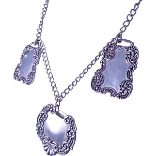 Lovely Sterling Silver Necklace with Three Fancy Silver Tags - Pendants
