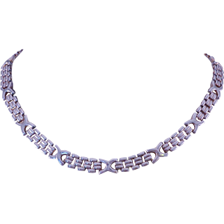 """Pretty Vintage Italian Sterling Silver Link """"X"""" Necklace ca: 1970s Choker Length"""