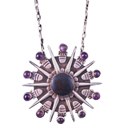 Iconic Vintage William SPRATLING Amethyst & Sterling Silver Pendant Signed 1940s Mexico
