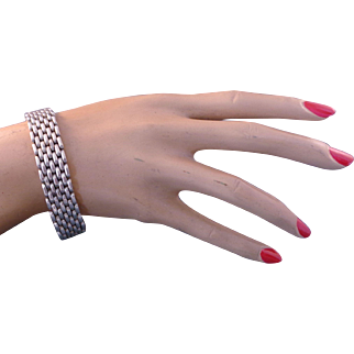 Great Vintage Mexican Sterling Silver Flat Link Bracelet ca: 1980s