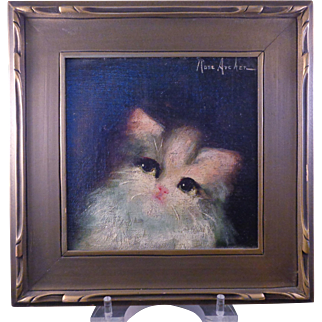 Charming Vintage Oil Painting Sweet Kitty Cat Signed: Rose Archer ca: 1920s