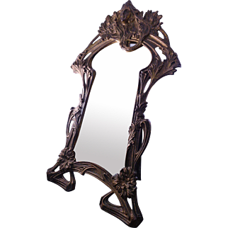 Fabulous Antique Art Nouveau Easel Tabletop Frame with Beveled Mirror ca: 1900-1915