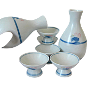 Sakazuki Sake Set, Japanese Arita Porcelain Tokkuri Cups, Traditional Bottles, Flasks, Imari Blue White Ceramics