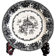 Staffordshire Toile Black Plate, Transferware, Equestrian, Tabletop, Collectibles, Platter, Faience Server