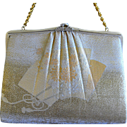 Japanese Silk brocade Clutch, Purse, Handbag, Flapper Evening Bag, Sensu Fan, Floral, Bridal Wedding