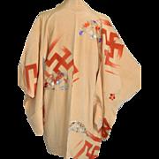 Tibetan Buddhist Japanese Kimono, Manji, Silk Robe