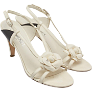 Vintage Chanel Sandals, Camellia, CC, Dust Bag
