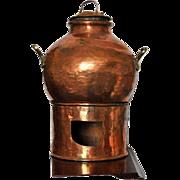 WWI Copper Pot Set, Primitive Round Hammered Bowl with Lid and Burner