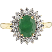 14k Gold Emerald and White Sapphire Engagement Ring, Halo, Promise Ring, Natural Gemstones