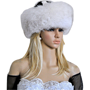 White Fox Roller Hat with Black and White Mink Top