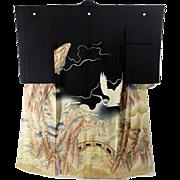 Rare Pre-WWII Japanese Geisha Hikizuri Kimono Black, Silk, Yuzen