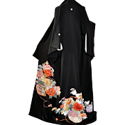 Gold Embroidery Japanese Imperial Kimono, Kurotomesode