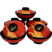 Urushi Lacquer Lidded Meshi Bowls, Japanese Rice bowls, Tableware, Traditional Wajima-nuri, Asian Dinnerware