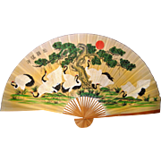 Display Japanese Fan, 79 inches x 50 inches Hemp canvas, Paper, Bamboo Frame
