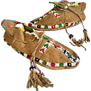 1940 Beaded Child's Moccasins, Cheyenne, Native American Shoes